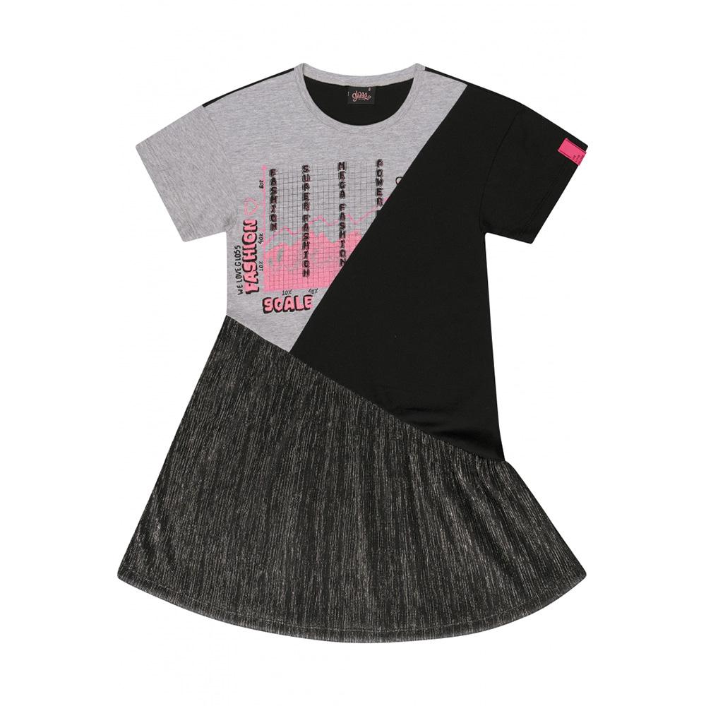 Vestido Gloss Preto com Tule Brilhoso 31256