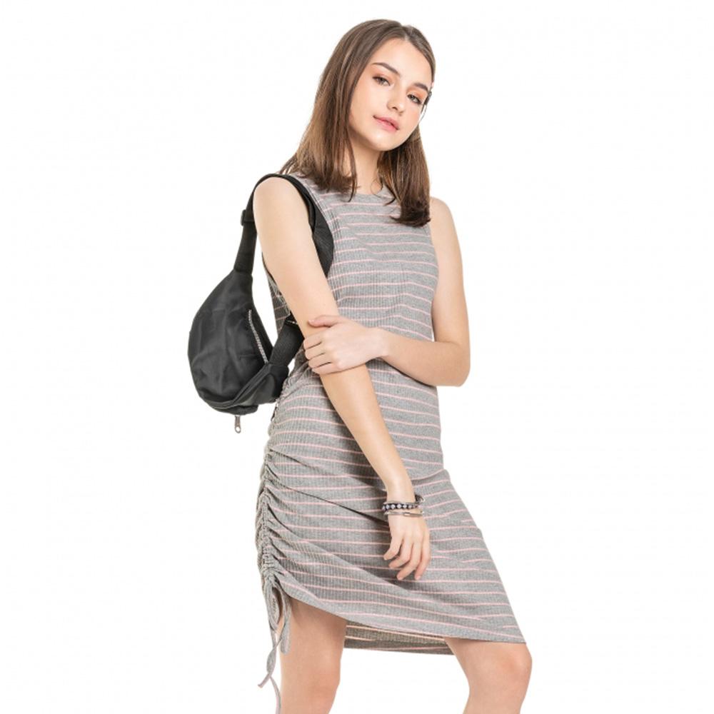 Vestido Gloss Ribana Canelada Cinza E Rosa 31241