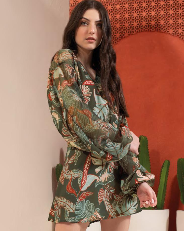Vestido Menina Acostamento Floral Camuflado Tomilho 89812012