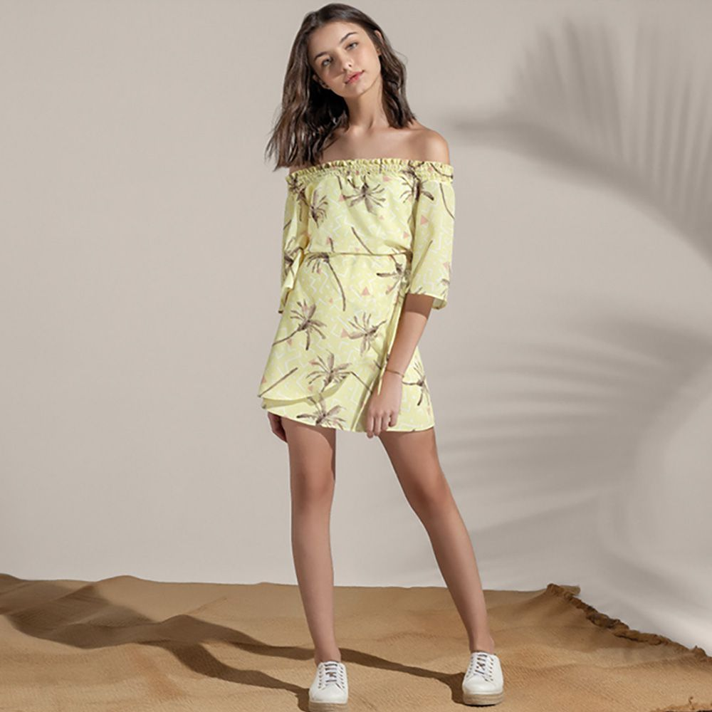 Vestido Menina Acostamento Palm Party Yellow 83812017