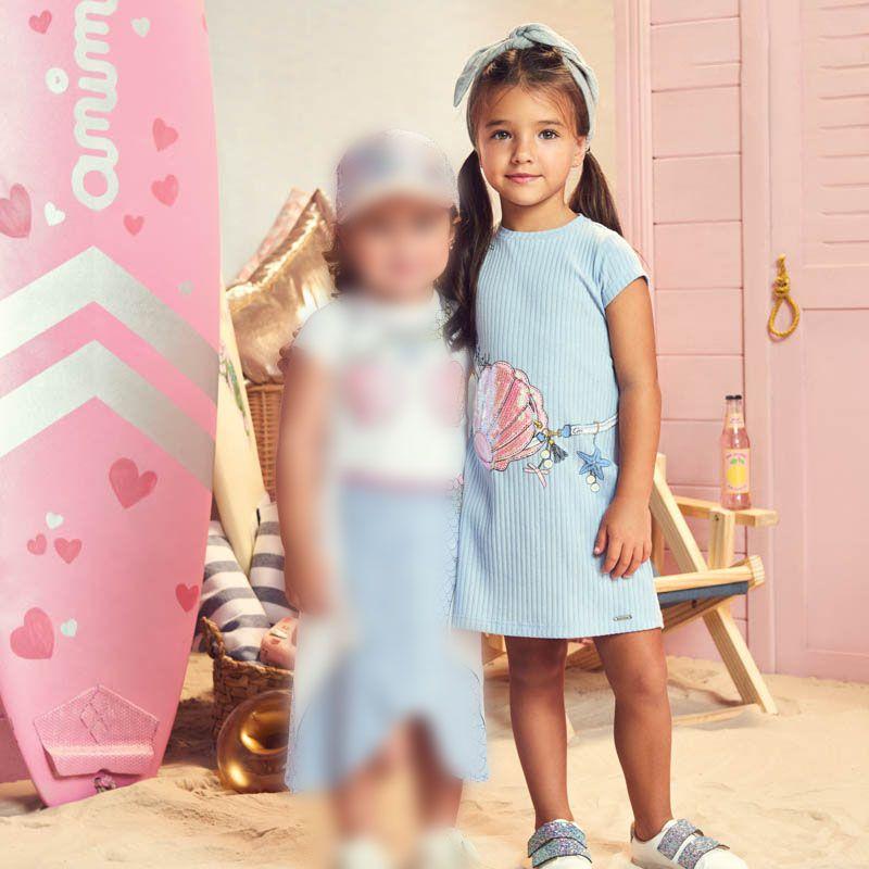 Vestido Menina Animê Canelado Azul Claro Sereia P3129