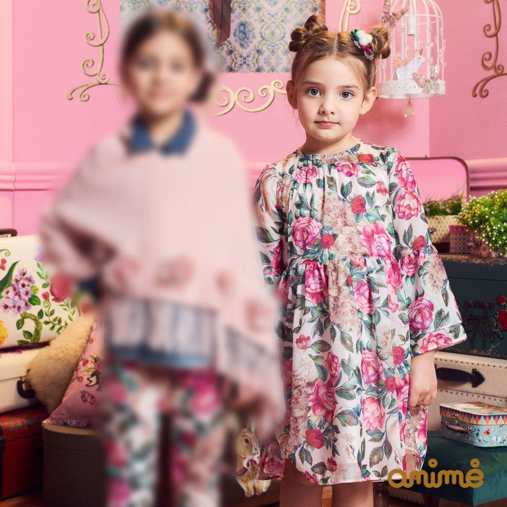 Vestido Menina Animê Crepe Rosas M9792