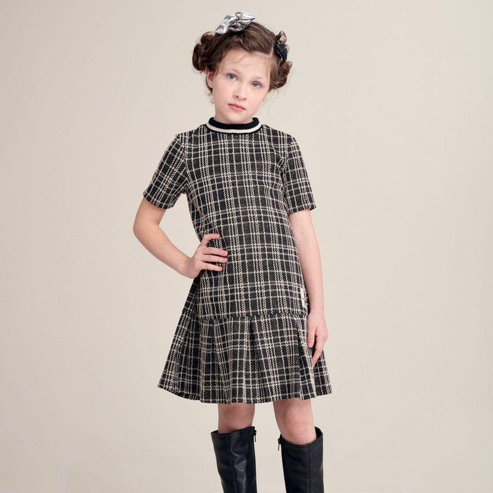 Vestido Menina Animê Jaquard Xadrez N0538