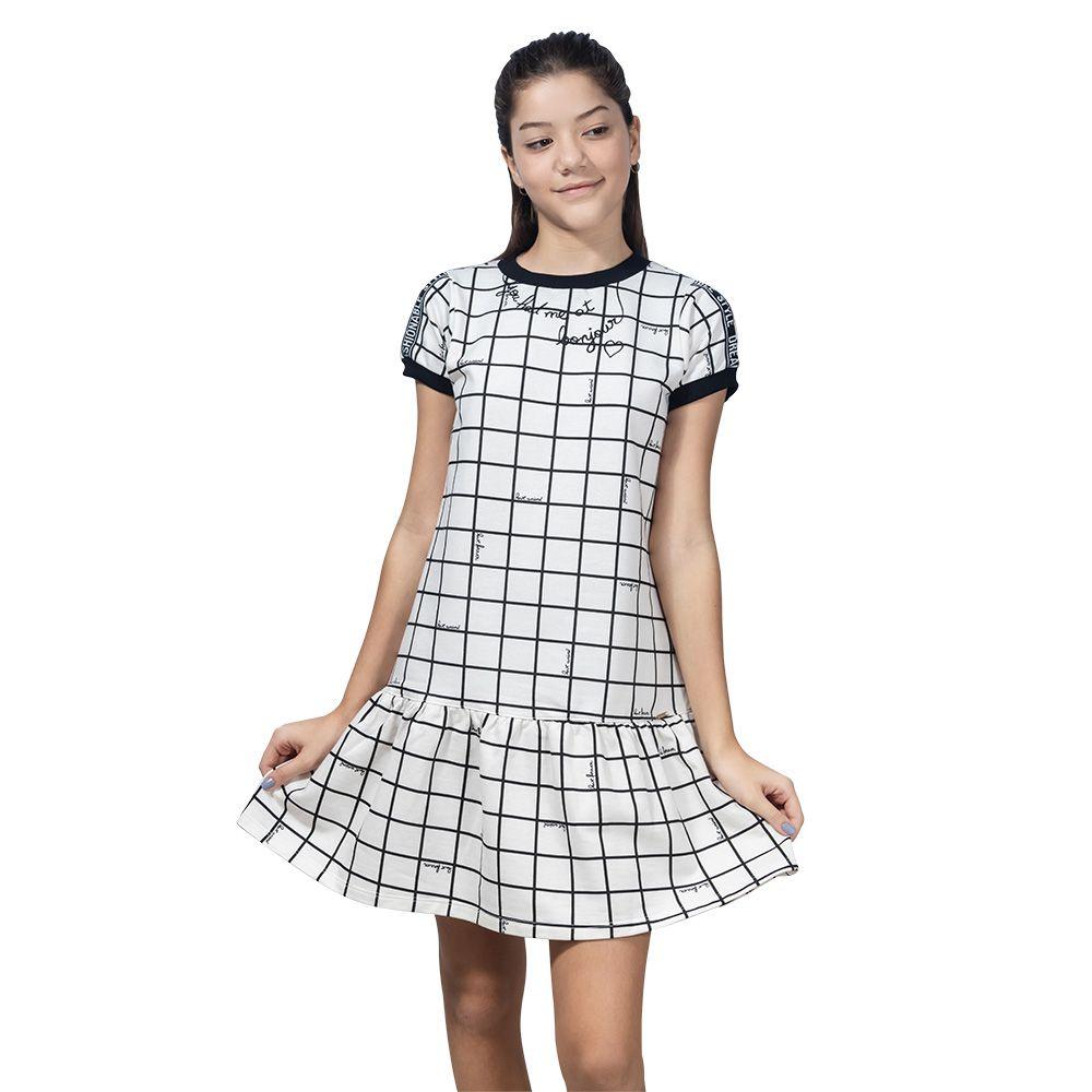 Vestido Menina Animê Labirinto Preto e Branco M9482