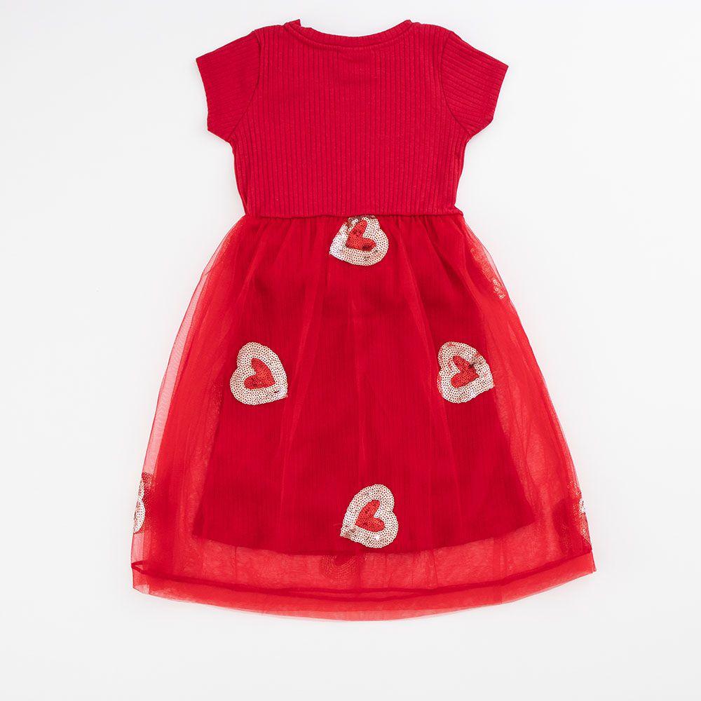 Vestido Menina Animê Vermelho Tule com Coração P3371