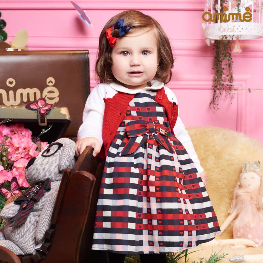 Vestido Menina Animê Xadrez Navy com Coração L0842