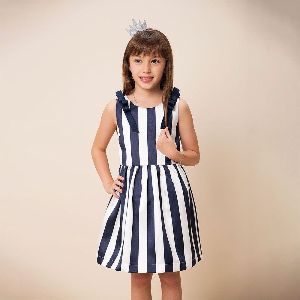 Vestido Menina Beabá Azm e Branco Listras 778038