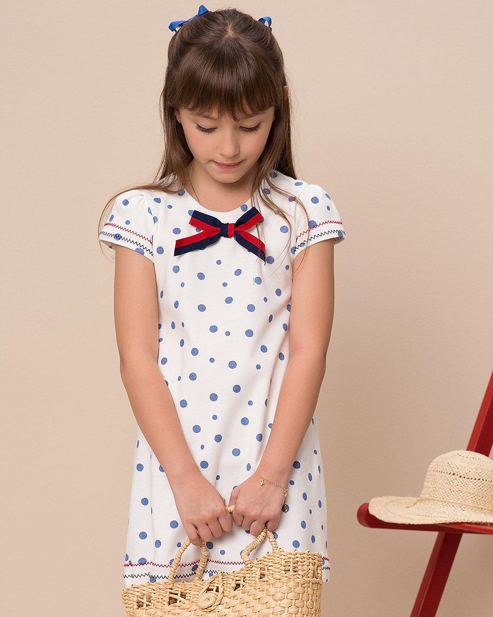 Vestido Menina Beabá Branco com Poá Azul 778005