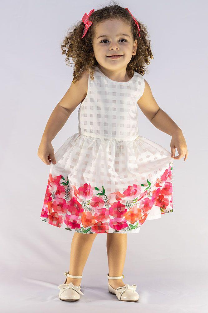 Vestido Menina Beabá Cetim Branco Barra Floral 778009