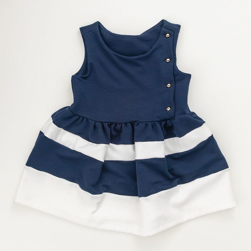 Vestido Menina Beabá Listrado Azul Marinho e Branco 778002