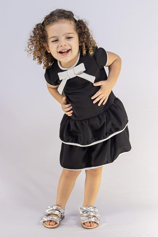 Vestido Menina Beabá Melindrosa Preto e Branco Laço 778014