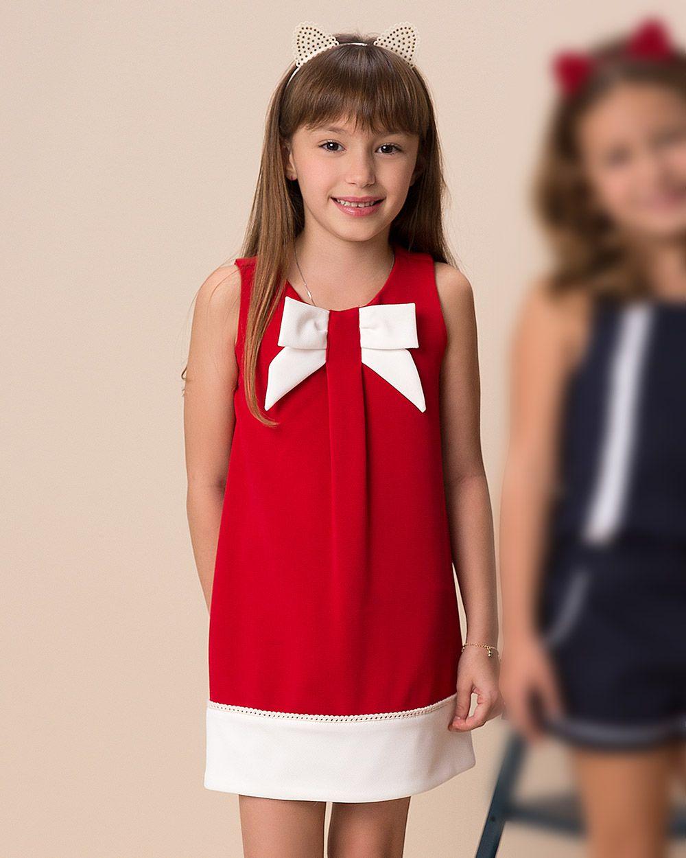 Vestido Menina Beabá Vermelho e Branco com Laço 778054