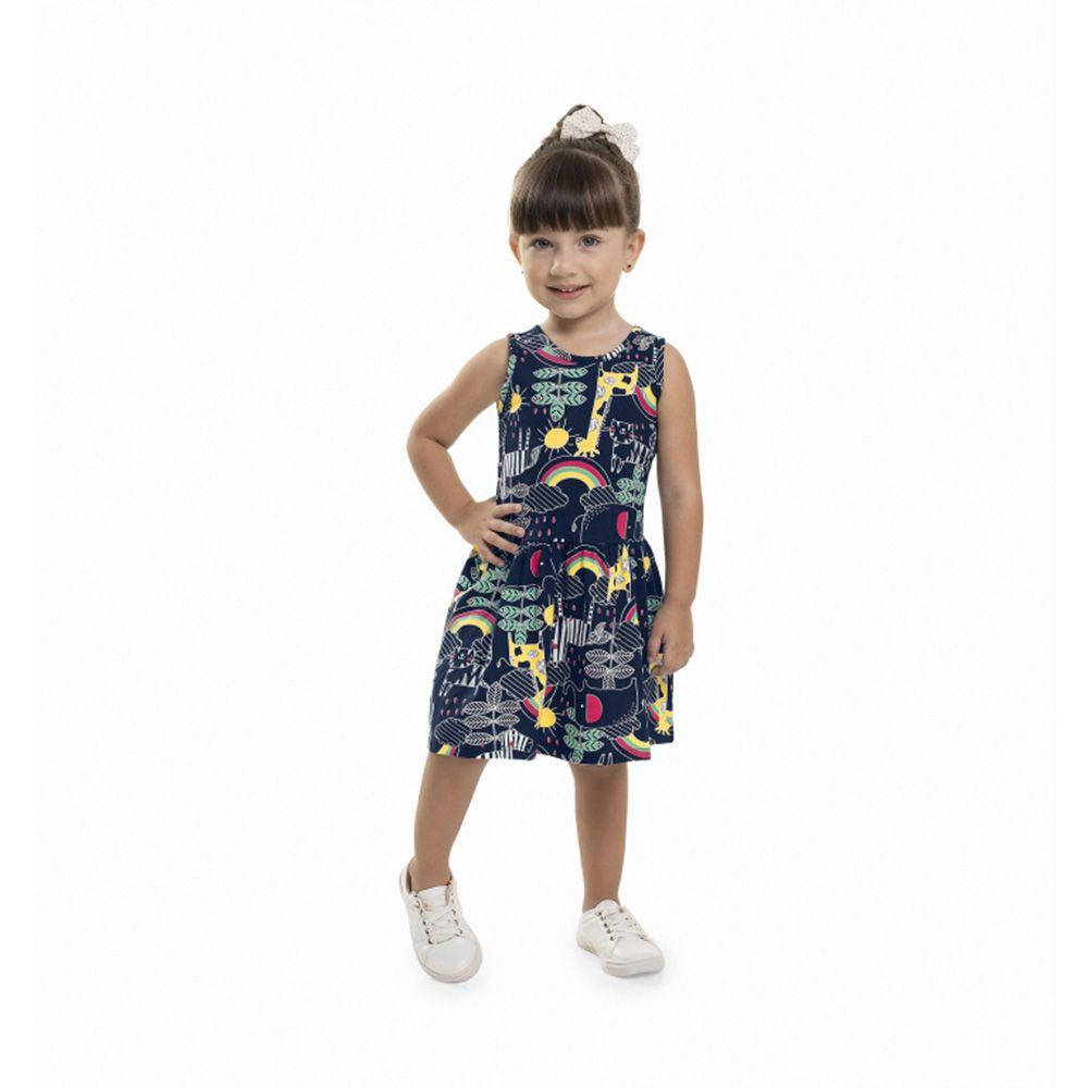 Vestido Menina Bee Loop Animais Azul Marinho 13567