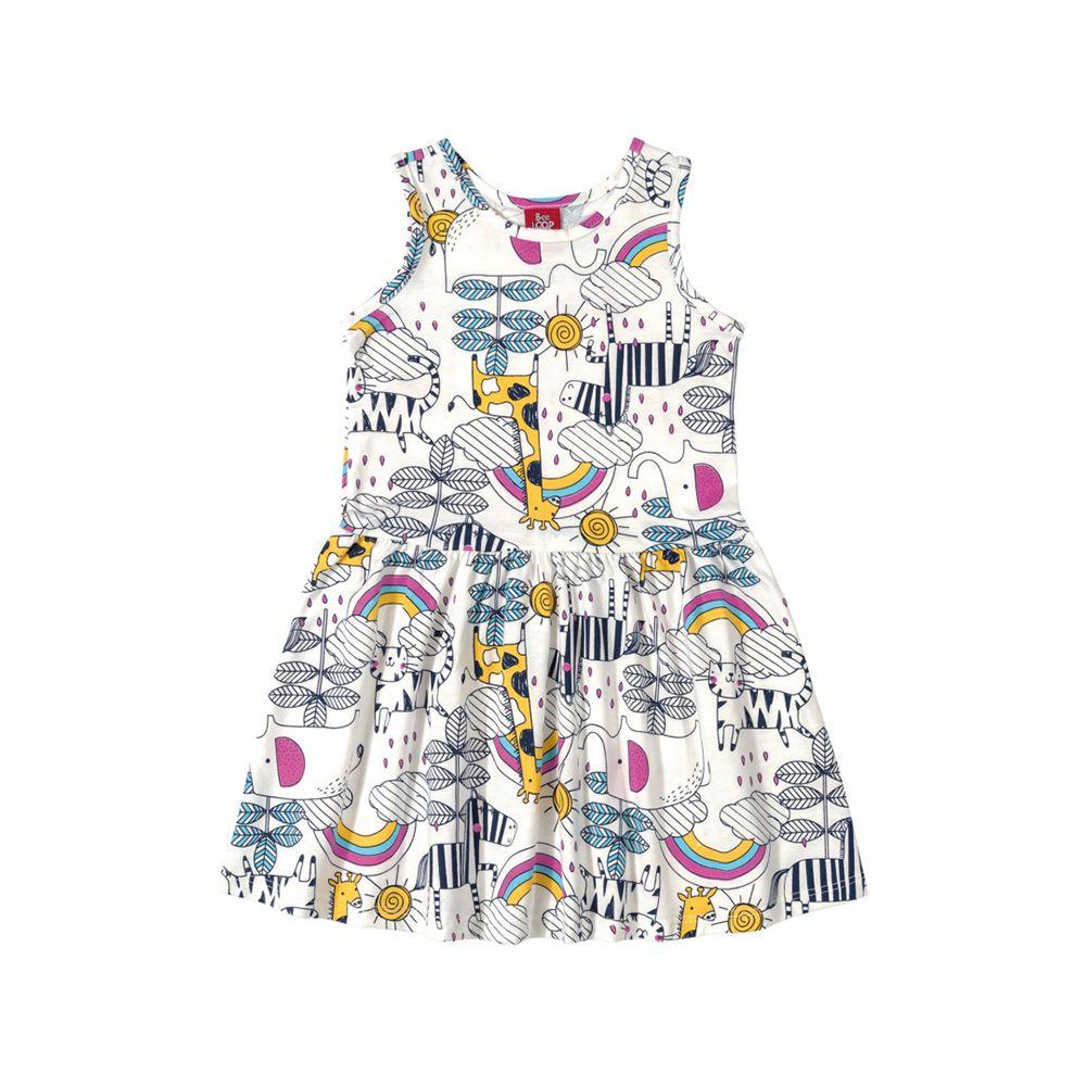 Vestido Menina Bee Loop Animais Branco 13567