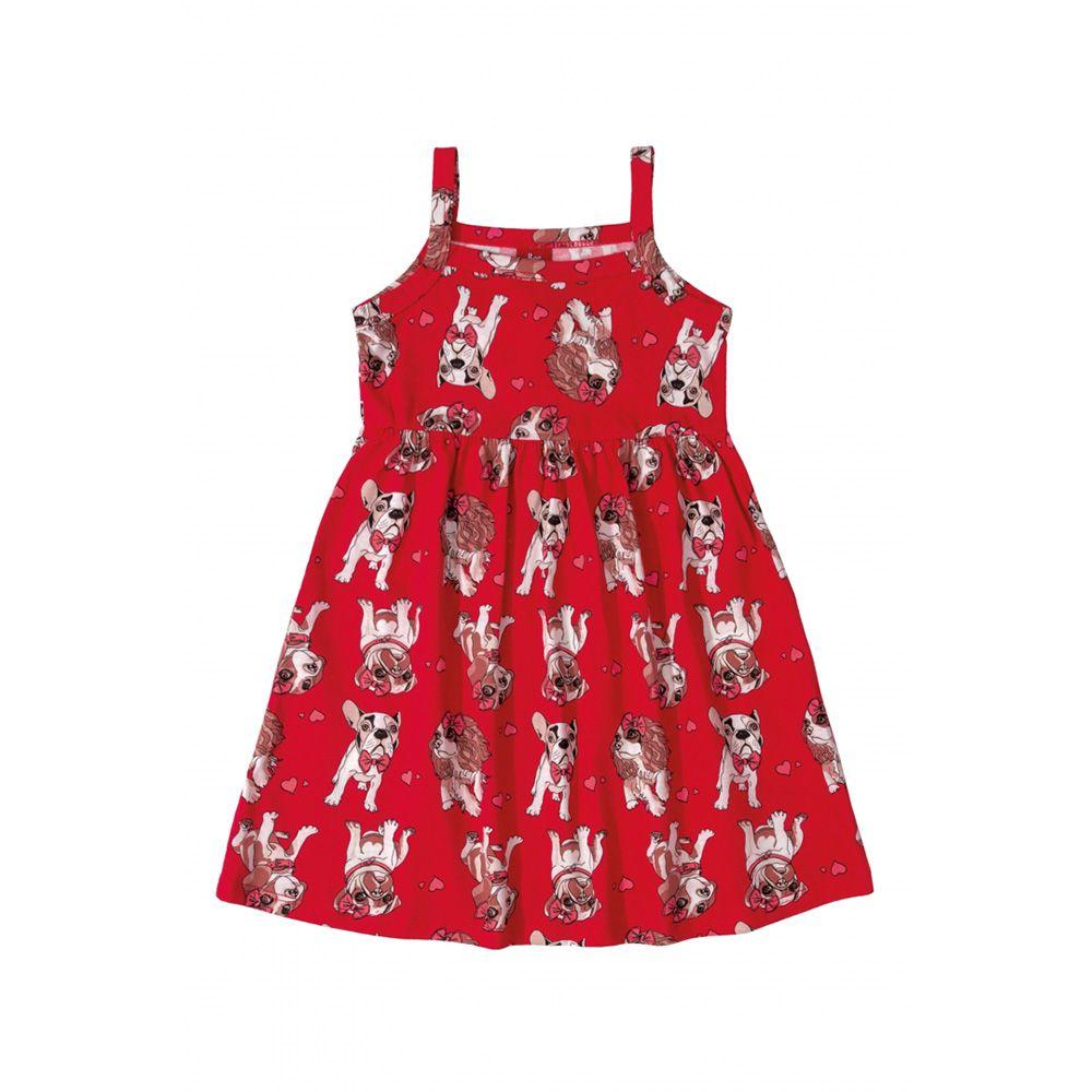 Vestido Menina Bee Loop Cachorro Vermelho 13566