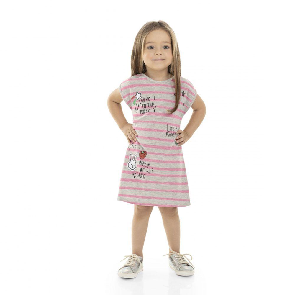 Vestido Menina Bee Loop Cinza com Listra Rosa 13521