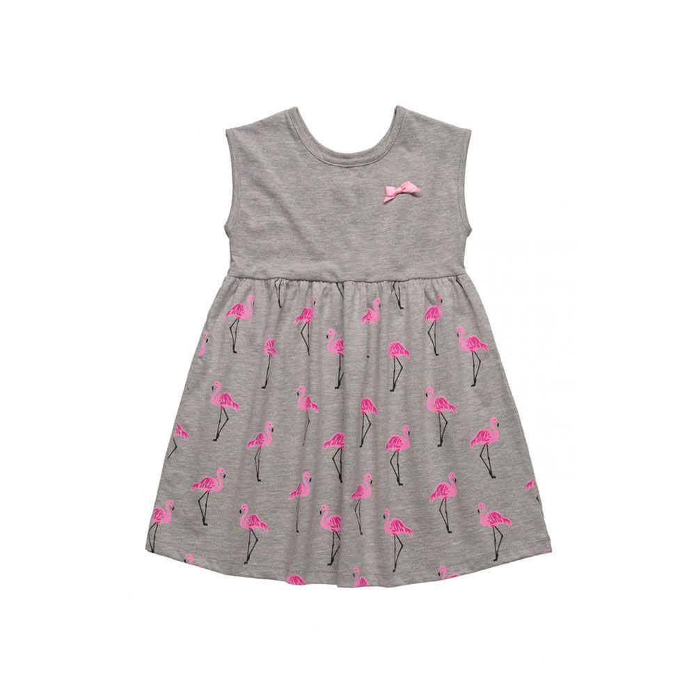 Vestido Menina Bee Loop Flamingo Cinza 13524