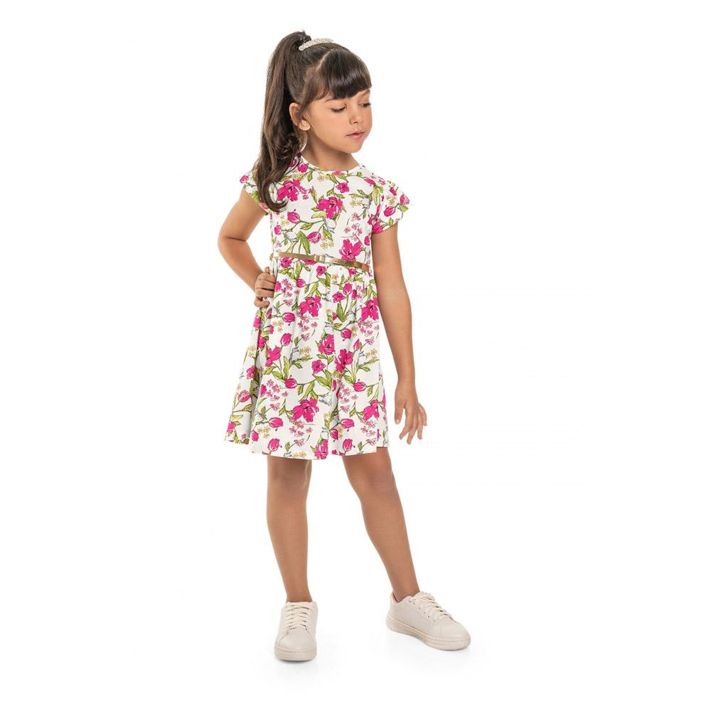 Vestido Menina Bee Loop Floral Branco com Rosa 13855