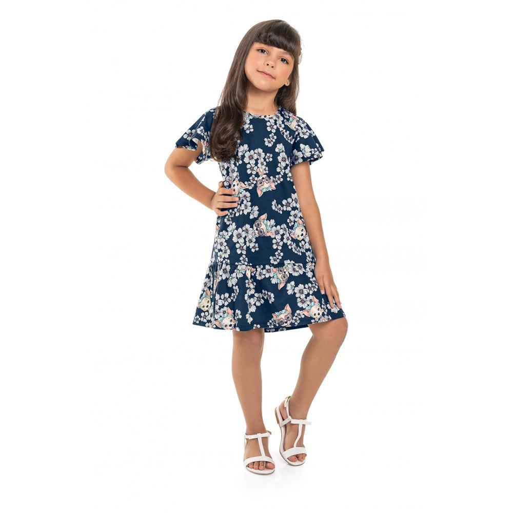Vestido Menina Bee Loop Floral e Dog Azul Marinho 13846