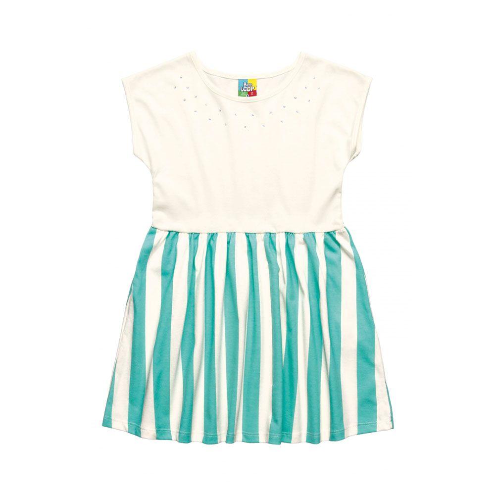 Vestido Menina Bee Loop Listra Branco e Verde 13538