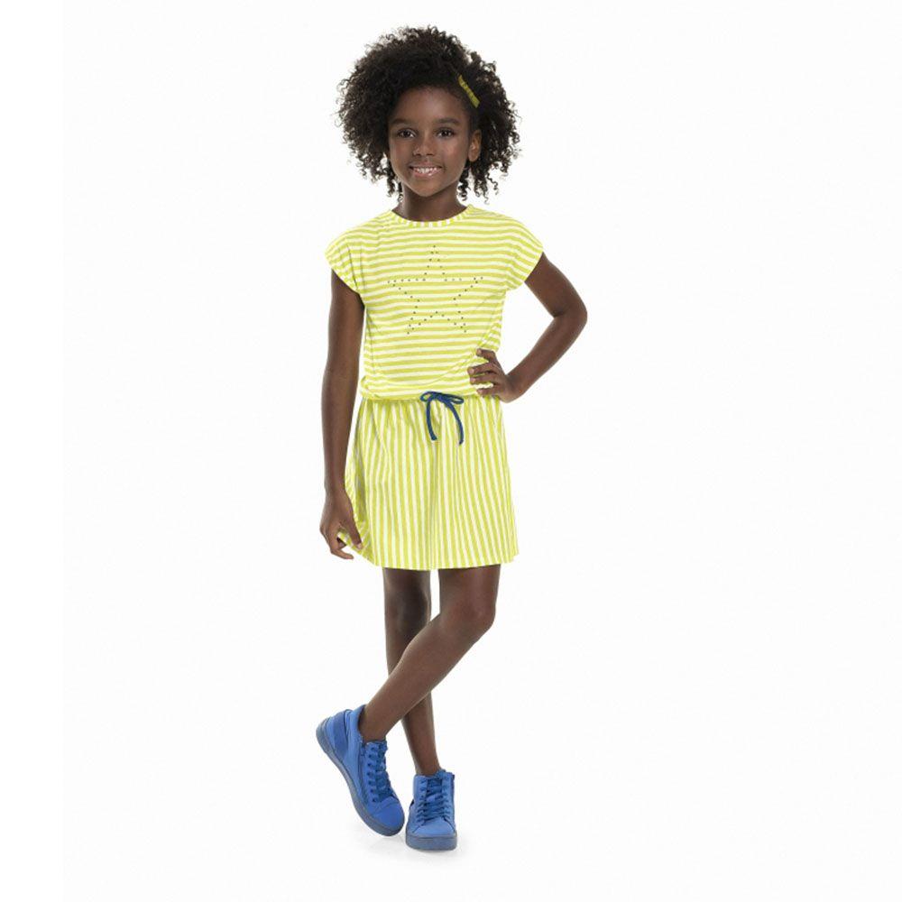 Vestido Menina Bee Loop Listrado com Estrela Limão 13588