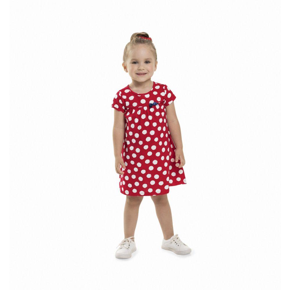 Vestido Menina Bee Loop Poá Vermelho e Branco 13570