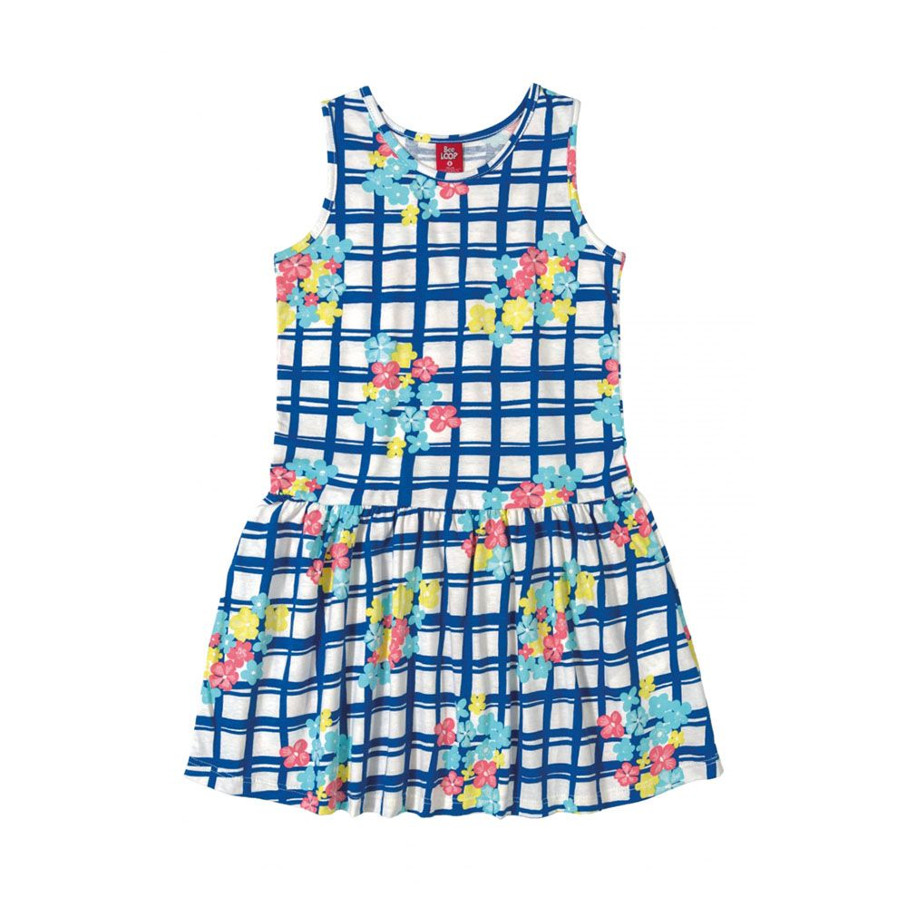 Vestido Menina Bee Loop Xadrez com Flores Azul 13584