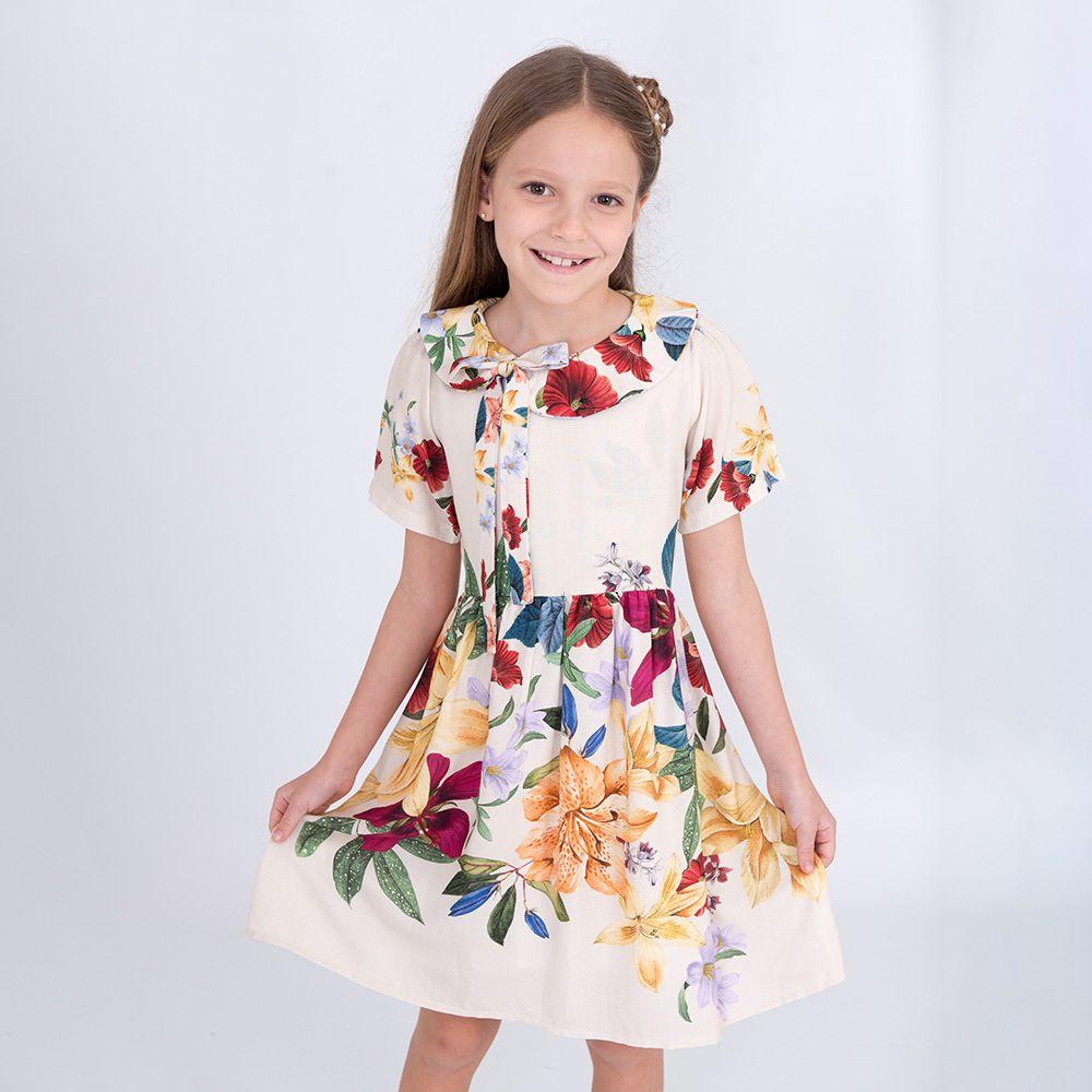Vestido Menina Bella Flor Gola Flores Coloridas Bf238B