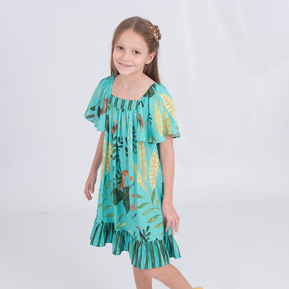 Vestido Menina Bella Flor Turquesa Bf231B