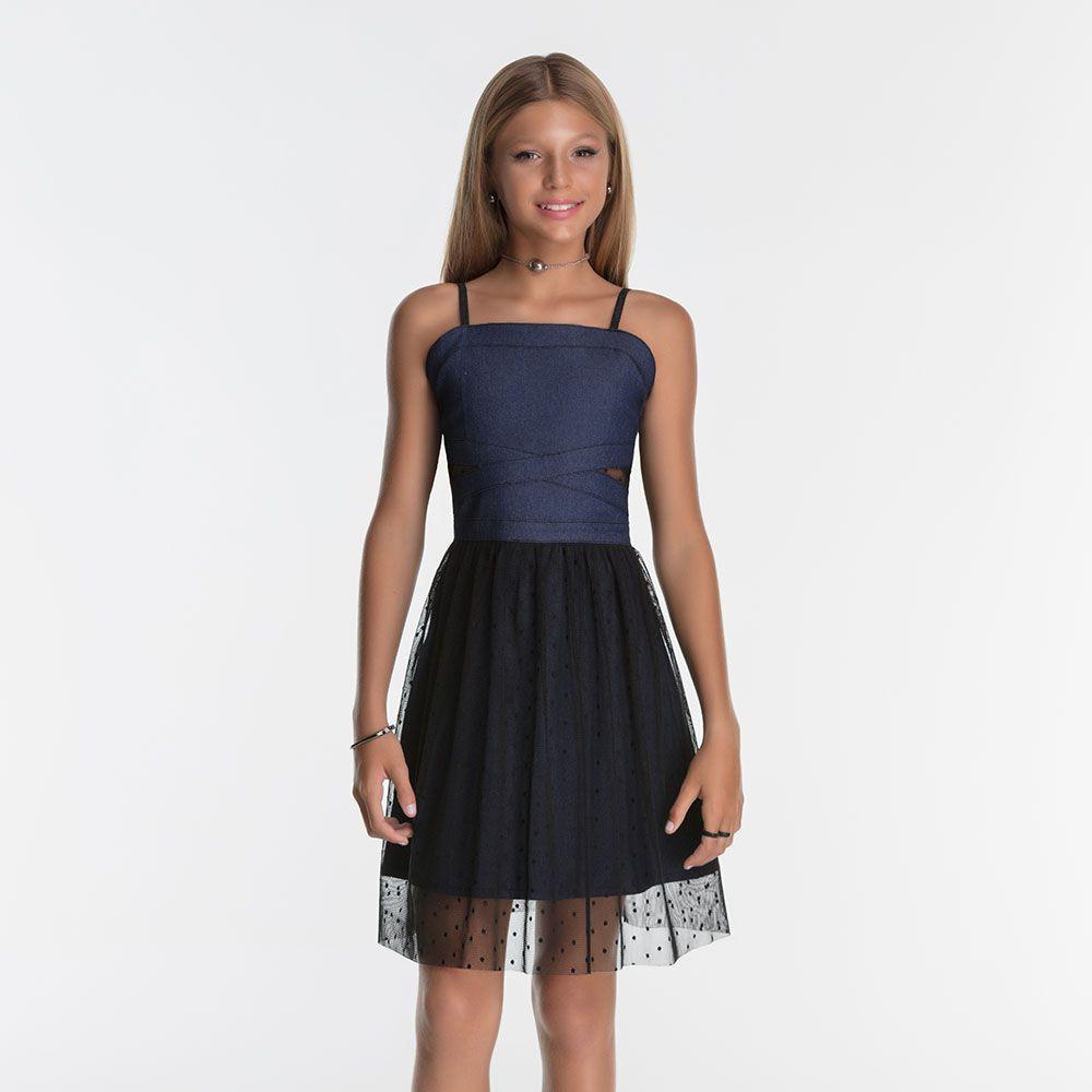 Vestido Menina Bobbylulu Jeans e Tule Preto 20S334