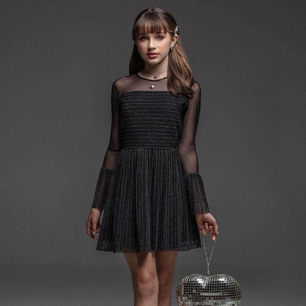 Vestido Menina Bobbylulu Preto com Brilho Ready 20W873