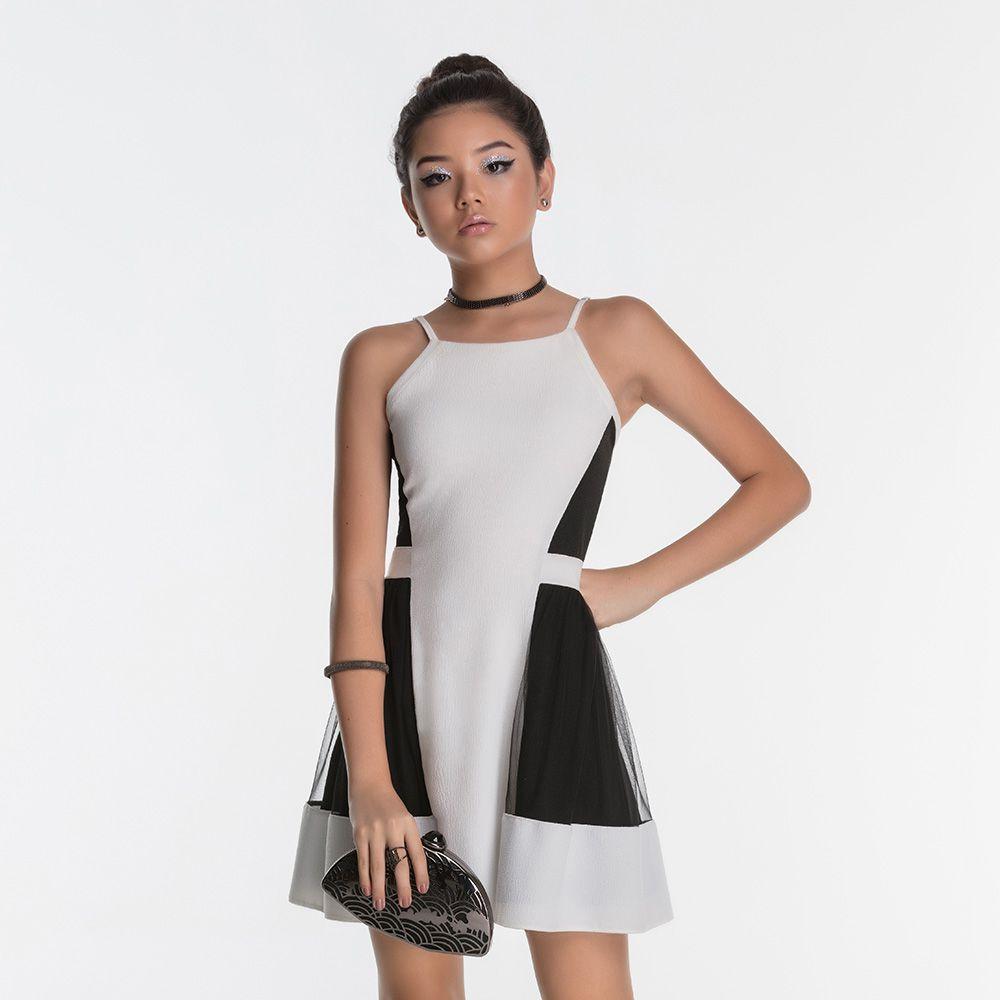 Vestido Menina Bobbylulu Preto e Branco com Tule 20S416