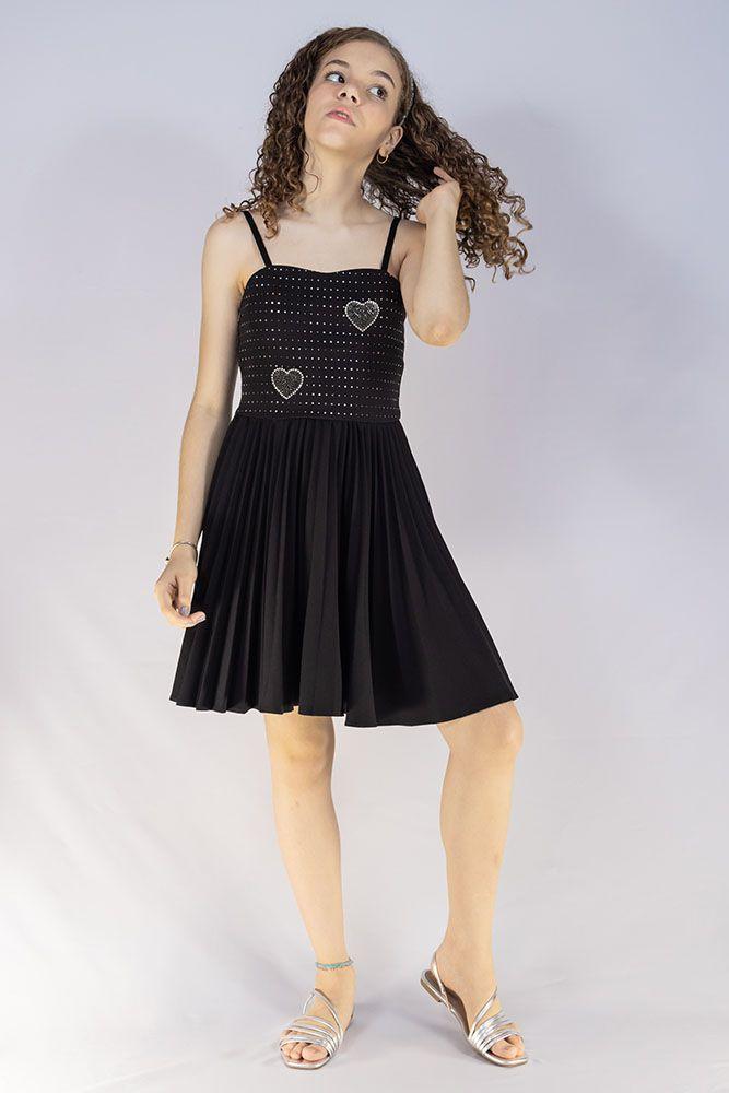 Vestido Menina Bobbylulu Preto Plissado Star 20S428