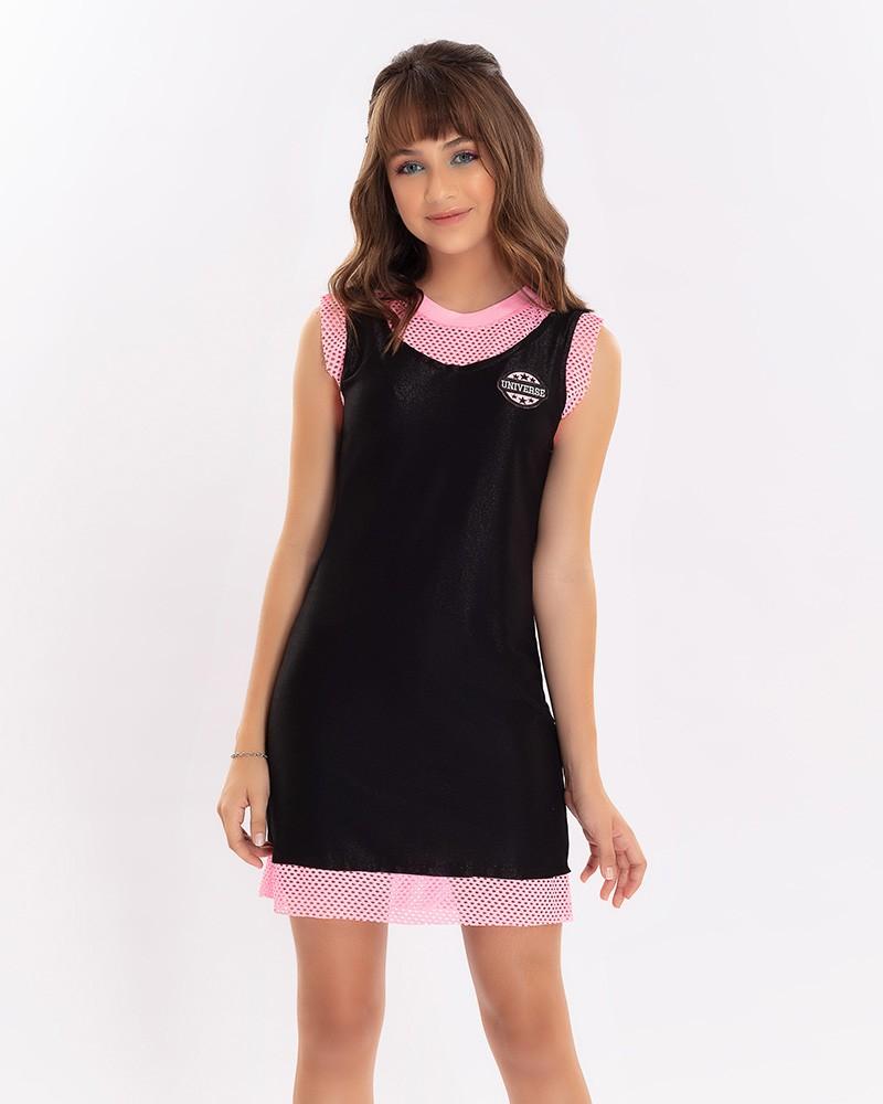 Vestido Menina Bobbylulu Universe Preto com Tela Pink B21372