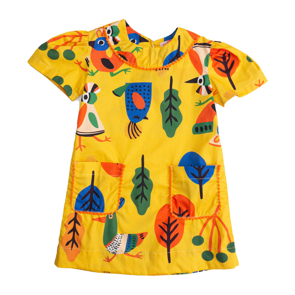Vestido Menina Chuá Birds Amarelo 2001
