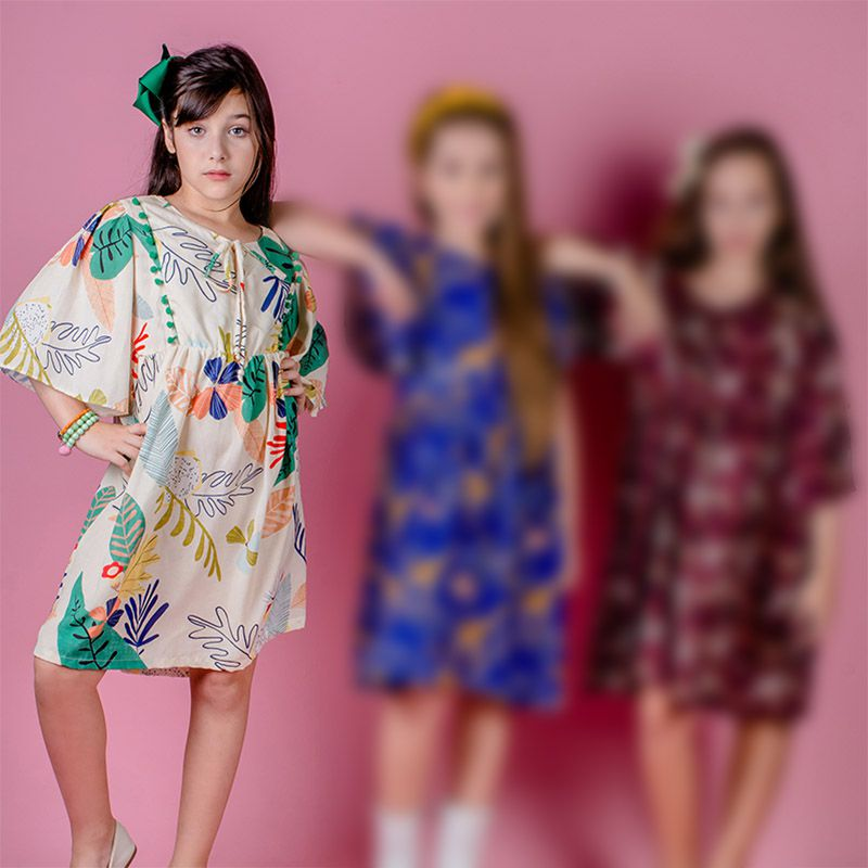Vestido Menina Chuá Folhas Vt3903