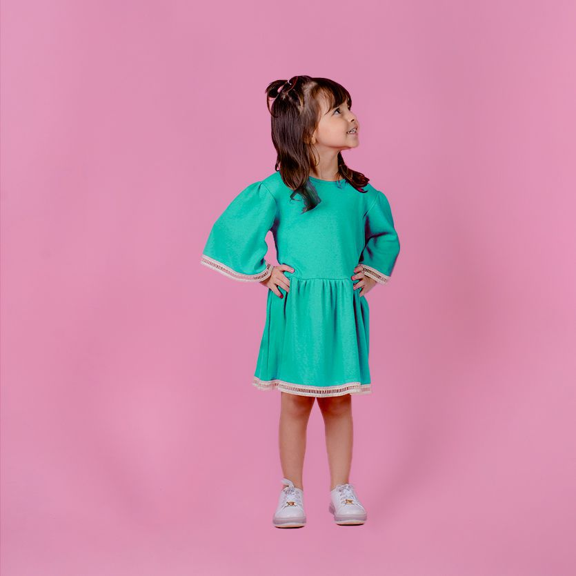 Vestido Menina Chuá Rodado Verde Baby Vt3701Bv
