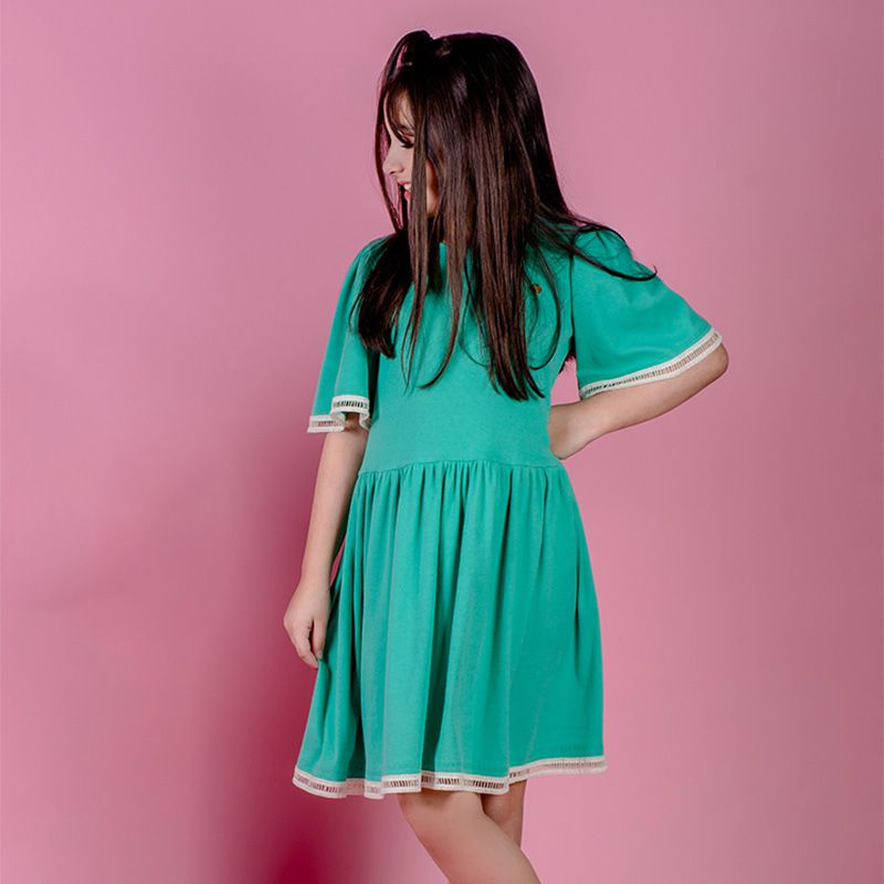 Vestido Menina Chuá Rodado Verde Vt3701V