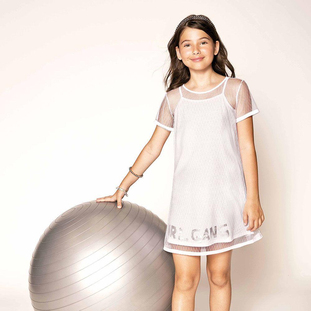 Vestido Menina Dimy Candy Branco com Sobreposição Tule 81470