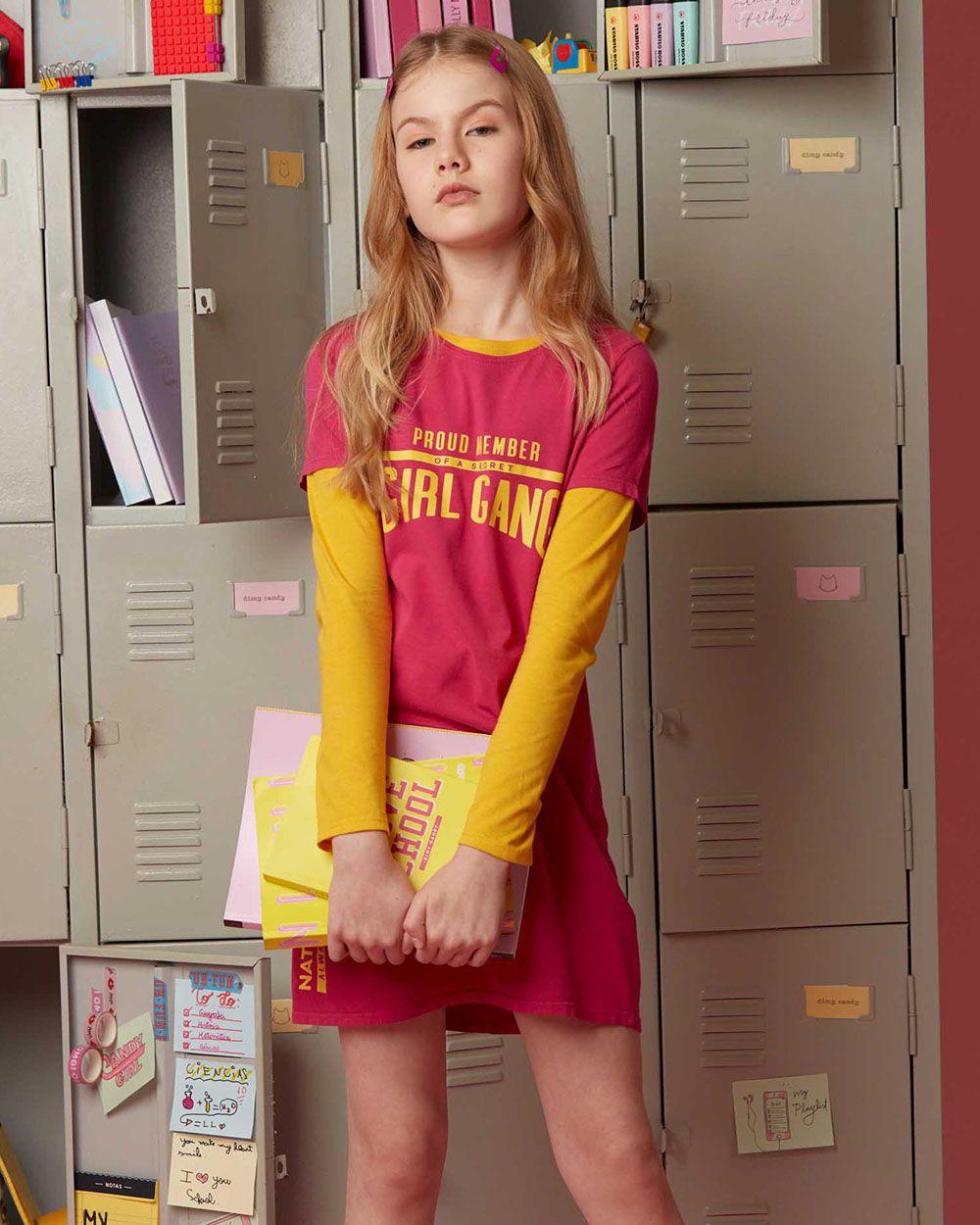 Vestido Menina Dimy Candy Girl Gang Pink 81762