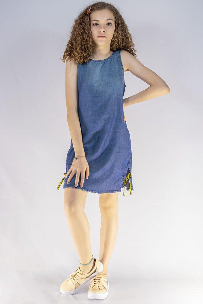 Vestido Menina Dimy Candy Jeans Detalhe Cadarço Amarelo 81562