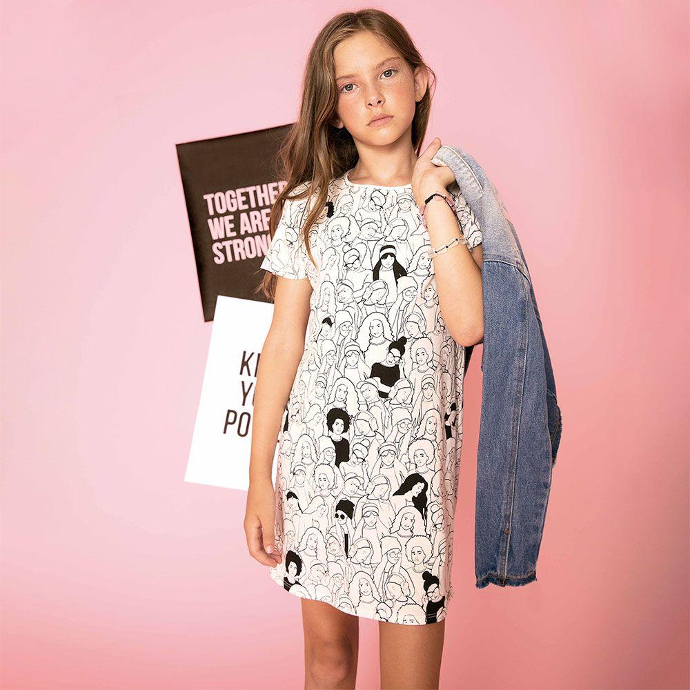 Vestido Menina Dimy Candy Off White Rostos 81506