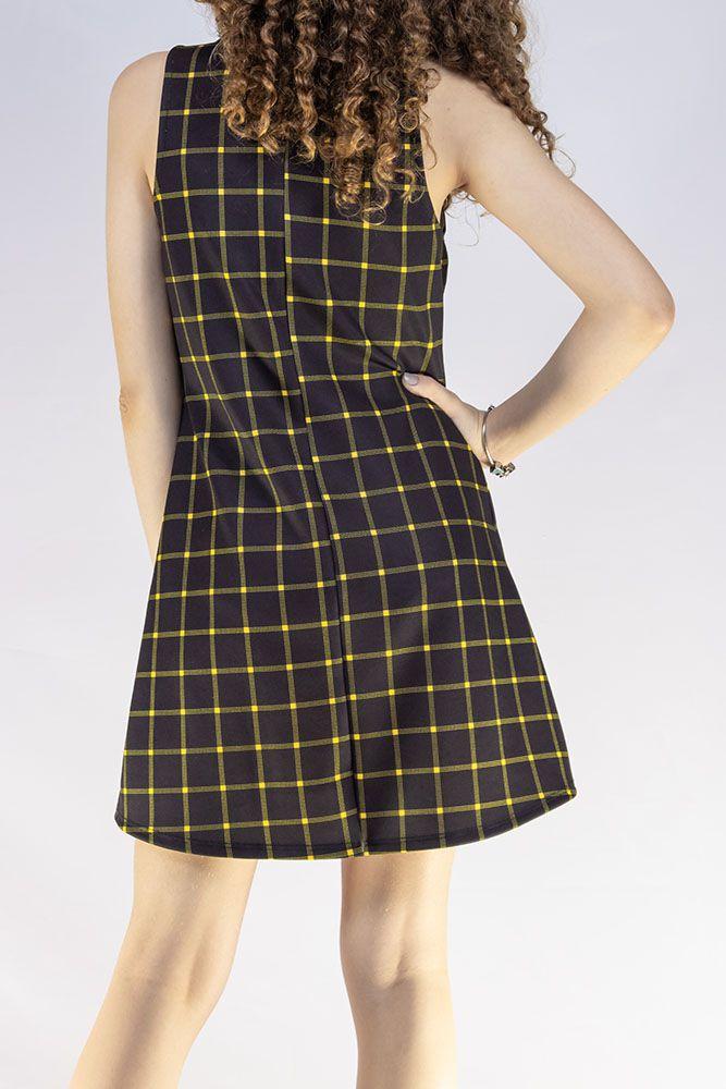 Vestido Menina Dimy Candy Xadrez Amarelo e Preto 81659