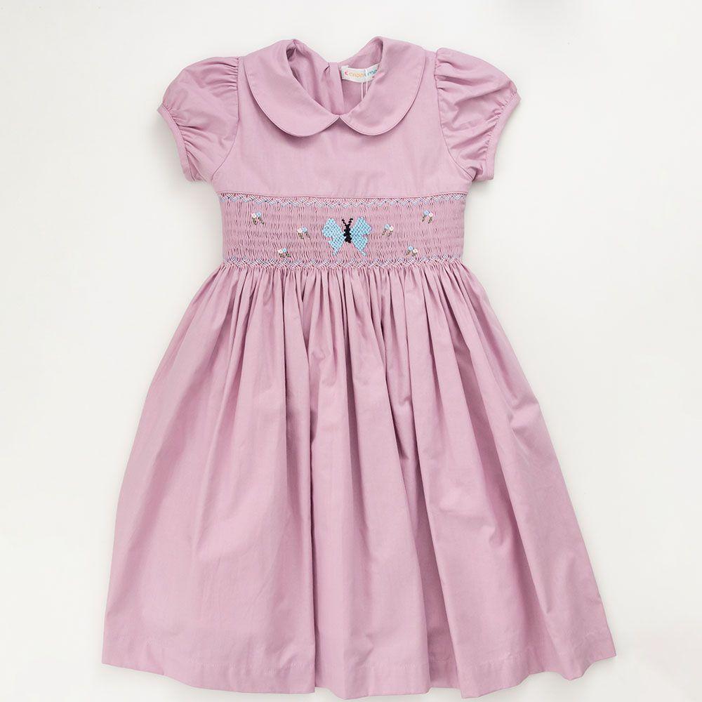 Vestido Menina É Cada Uma! Casinha de Abelha Lilás com Borboleta Azul 0102