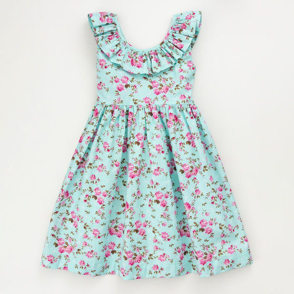 Vestido Menina É Cada Uma! Floral decote com Babado 0104