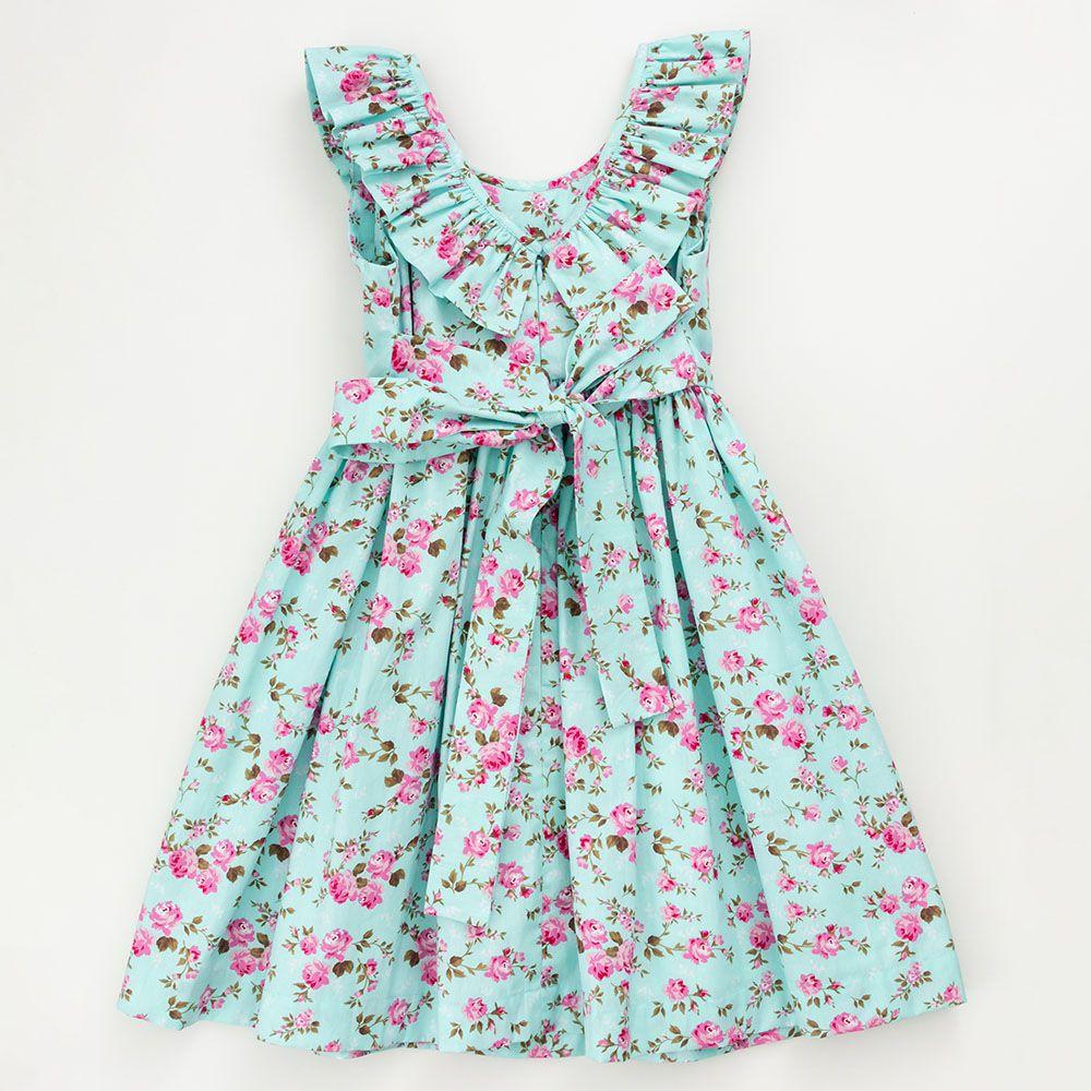 Vestido É Cada Uma! Floral decote com Babado 0104