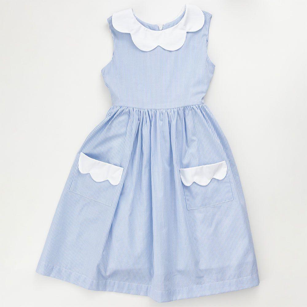 Vestido Menina É Cada Uma! Listra Azul Bebê Bolso e Gola Brancos 0109