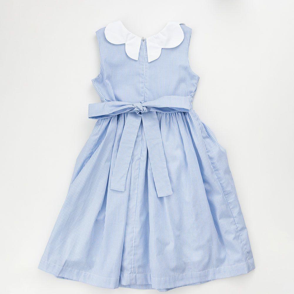Vestido É Cada Uma! Listra Azul Bebê Bolso e Gola Brancos 0109