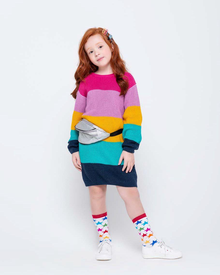 Vestido Menina Ever Be Tricot Colorido 60062