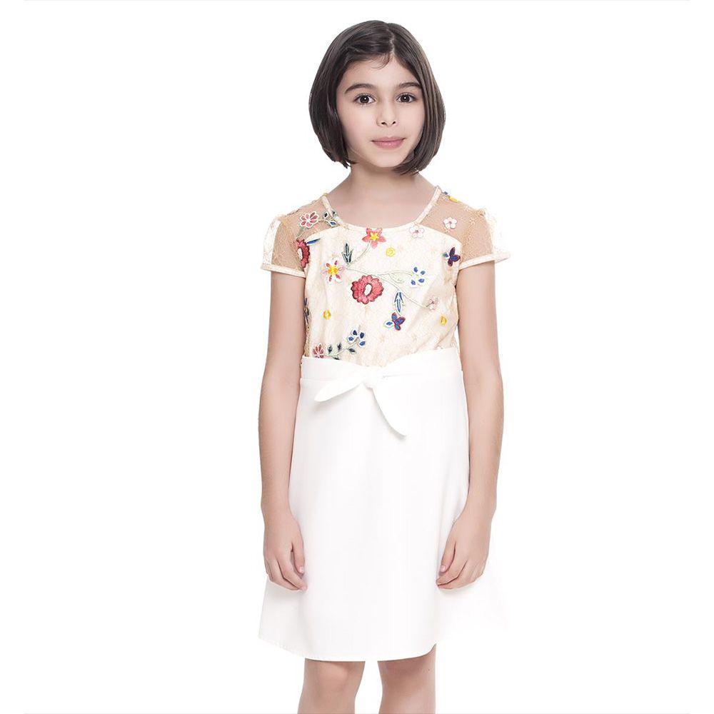 Vestido Menina Fanyland Branco em Tule Bordado 6001314